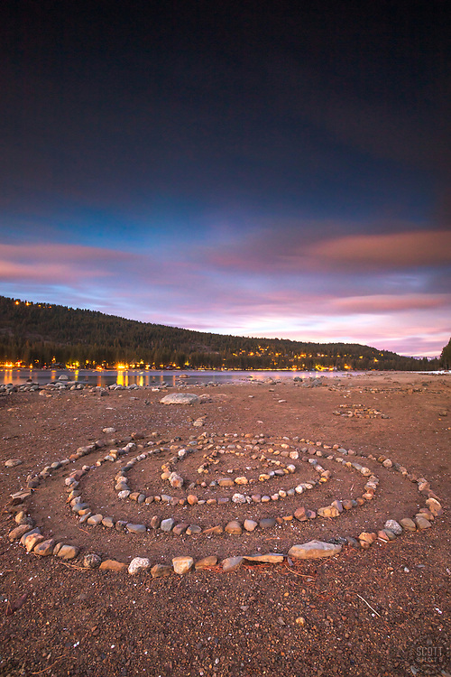 """""""Spiral Rocks at Sunset 2"""" - Photograph of a spiral rock formation at sunset along the South East shore of Donner Lake in Truckee, California."""