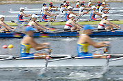 Marathon, GREECE,  Women's quads racing for lanes, at the FISA European Rowing Championships.  Lake Schinias Rowing Course, FRI 19.09.2008  [Mandatory Credit Peter Spurrier/ Intersport Images] , Rowing Course; Lake Schinias Olympic Rowing Course. GREECE