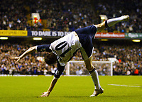 Photo: Chris Ratcliffe.<br /> Tottenham Hotspur v Sunderland. The Barclays Premiership. 03/12/2005.<br /> Robbie Keane celebrates his goal in traditional style