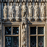 Detail of the ornate statues on the exterior of the Brussels City Hall on Grand Place (La Grand-Place), a UNESCO World Heritage Site in central Brussels, Belgium. Lined with ornate, historic buildings, the cobblestone square is the primary tourist attraction in Brussels.
