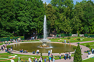 Peterhof, Russia -- July 21, 2019. The gardens at the Summer Palace in Peterhof are in full bloom and full of tourists.