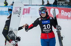 Zavarzina Alena and Ulbing Daniela during the woman's Snowboard giant slalom of the FIS Snowboard World Cup 2017/18 in Rogla, Slovenia, on January 21, 2018. Photo by Urban Meglic / Sportida