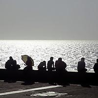 Asia, India, Mumbai. Chowpatty Beach Promenade.
