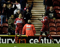 Photo: Jed Wee.<br /> Middlesbrough v Crystal Palace. Carling Cup. 30/11/2005.<br /> <br /> Middlesbrough's Szilard Nemeth (L) celebrates his goal with Jimmy Floyd Hasselbaink.