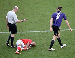 West Ham's Andy Carroll walks away after fouling Bristol City's Korey Smith  - Photo mandatory by-line: Alex James/JMP - Mobile: 07966 386802 - 25/01/2015 - SPORT - Football - Bristol - Ashton Gate - Bristol City v West Ham United - FA Cup Fourth Round