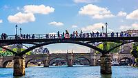 Pont des Arts (pedestrian bridge) over the River Seine, Paris, France.