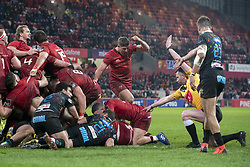 March 23, 2019 - Limerick, Ireland - Rory Scannell of Munster scores a try during the Guinness PRO14 match between Munster Rugby and Zebre at Thomond Park Stadium in Limerick, Ireland on March 23, 2019  (Credit Image: © Andrew Surma/NurPhoto via ZUMA Press)