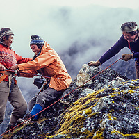 Pertemba Sherpa teaches his colleagues advanced rope work at an early mountaineering school for sherpas in the Khumbu region of Nepal, 1980.
