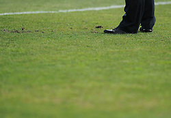 a Uefa official checks the pitch before the game  - Mandatory byline: Joe Meredith/JMP - 07966386802 - 05/09/2015 - FOOTBALL- INTERNATIONAL - San Marino Stadium - Serravalle - San Marino v England - UEFA EURO Qualifers Group Stage