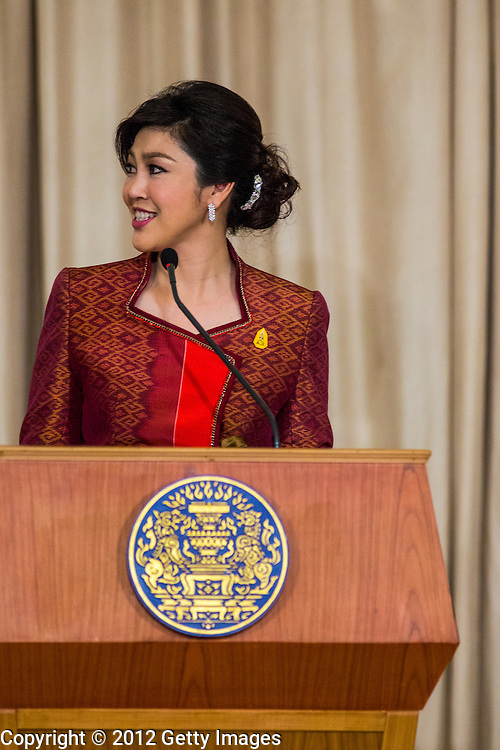 18 NOVEMBER 2012 - BANGKOK, THAILAND:  Thai Prime Minister Yingluck Shinawatra at the joint press conference with President Obama in Government House on November 18, 2012 in Bangkok, Thailand. Obama will become the first serving US President to visit Myanmar during his four-day tour of Southeast Asia that will also include visits to Thailand and Cambodia.PHOTO BY JACK KURTZ