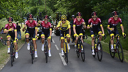 July 28, 2019, Paris, France: Colombian Egan Bernal of Team Ineos wearing the yellow jersey of leader in the overall ranking, cheers with a cup of champagne on his bike during the final stage of the 106th edition of the Tour de France cycling race, from Rambouillet to Paris Champs-Elysees (128km), France, Sunday 28 July 2019. This year's Tour de France starts in Brussels and takes place from July 6th to July 28th. (Credit Image: © Yorick Jansens/Belga via ZUMA Press)