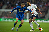 Spurs Mousa Dembele (19) takes on AFC Wimbledon defender Barry Fuller (2) during the The FA Cup 3rd round match between Tottenham Hotspur and AFC Wimbledon at Wembley Stadium, London, England on 7 January 2018. Photo by Robin Pope.