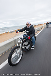 Bo Hatzoge riding an Eric Stein built 1974 custom Harley-Davidson Shovelhead on A1A near Flagler Beach during Daytona Beach Bike Week. FL. USA. Tuesday, March 14, 2017. Photography ©2017 Michael Lichter.