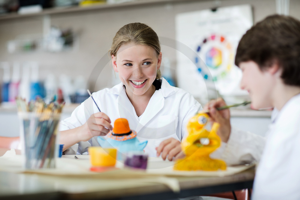School activities College boys and girls in different atmospheres of the school Working environments