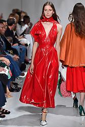 Model Elysa Gorczevski walks on the runway during the Calvin Klein Fashion show at New York Fashion Week Spring Summer 2018 held in New York, NY on September 7, 2017. (Photo by Jonas Gustavsson/Sipa USA)