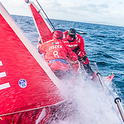 Leg 7 from Auckland to Itajai, day 01 on board MAPFRE, Sophie Ciszek ans Antonio Cuervas-Mons deploying the J1. Start day. 18 March, 2018.