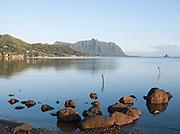 "Coastline at Kualoa Regional Park with a view to the Ko'olau Mountain Range and Mokoli'i,  ""Chinaman's Hat"", O'Ahu, Hawai'i"