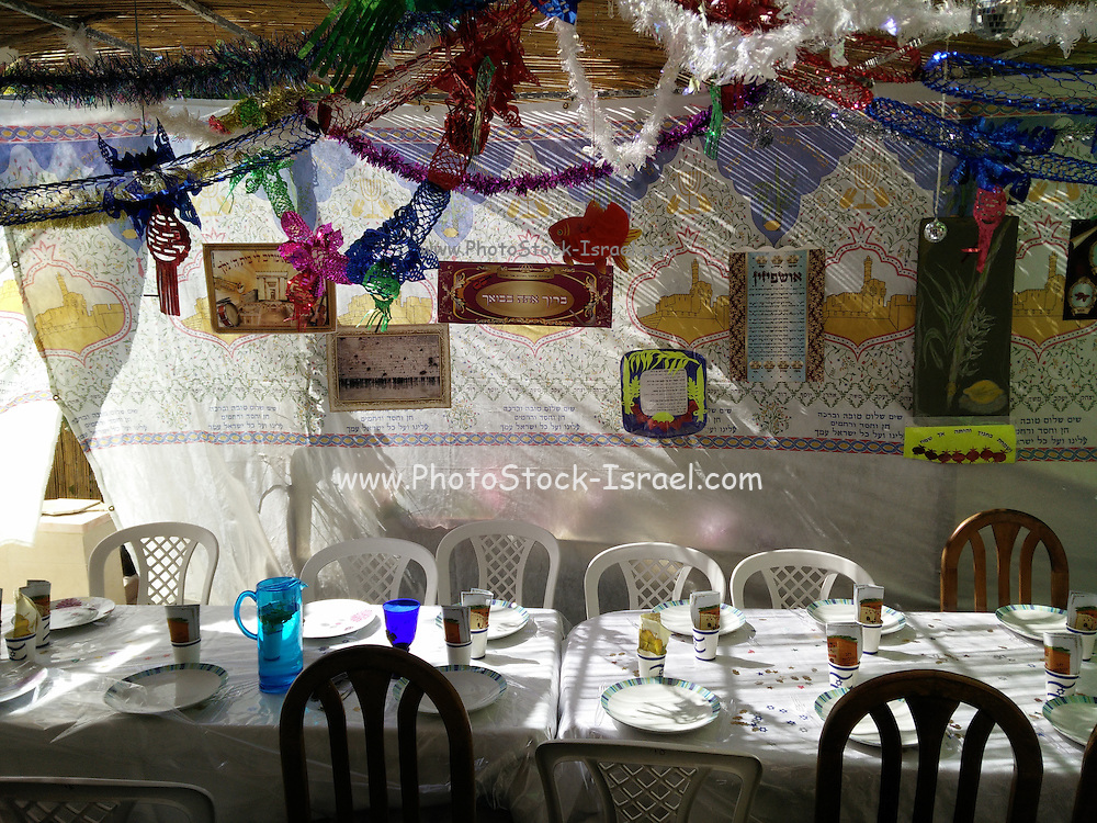 Interior of a decorated Sukkah erected for the Jewish Holiday of Sukkoth
