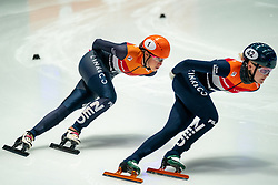 Suzanne Schulting of Netherlands, Xandra Velzeboer of Netherlands in action on 1500 meter during ISU World Short Track speed skating Championships on March 05, 2021 in Dordrecht