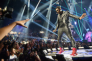 Usher performing at the iHeartRadio Music Festival in Las Vegas, Nevada on September 21, 2012.