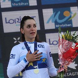 28-08-2020: Wielrennen: EK wielrennen: Plouay<br /> De Italiaanse Eleanora Gasperinni is Europees  kampioene  geworden. De Nederlandse Meintje Geurts werd zesde.<br /> Voor de Belgen was er zilver voor Marith Vanhove en brons voor Katrijn de Clercq