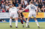 Adam Hughes of the Newport Gwent Dragons (C) runs into Kristian Dacey (L)  of the Cardiff Blues with Gareth Anscombe (r) in support. Guinness Pro12 rugby match, Cardiff Blues v Newport Gwent Dragons at the Cardiff Arms Park in Cardiff, South Wales on Sunday 17th April 2016.<br /> pic by Simon Latham, Andrew Orchard sports photography.
