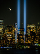 Tribute in Light in remembrance of the September 11 attacks observed from Liberty State Park (Jersey City)