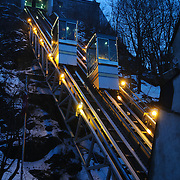 Funicular ferries passengers up the steet incline of Quebec City's Old Town.