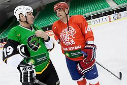 Ildar Rahmatullim of Olimpija and Matjaz Kopitar of Jesenice during Humanitarian hockey derby of legends between Olimpija and Jesenice, on 7 March 2014, in Hala Tivoli, Ljubljana, Slovenia. Photo by Urban Urbanc / Sportida.com