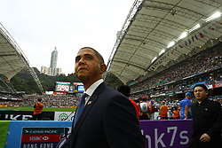 April 7, 2017 - Hong Kong, CHINA - A BARRACK OBAMA impersonator walks into the Hong Kong Stadium greeting local and international fans on the stand, on the far right is a KIM JON-UN impersonator following the Obama look-alike. A sudden appearance of an impersonators of famous political leaders attracted media attention at the annual RUGBY SEVEN. 2017 Apr-7.Hong Kong.ZUMA/Liau Chung Ren (Credit Image: © Liau Chung Ren via ZUMA Wire)