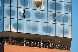 Elbphilharmonie, Hamburg, Germany; Detail of public platform of new Elbphilharmonie opera house in Hamburg, Germany.