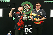 Jonny Clayton wins the 2021Unibet Premier League pictured with runner up Jose de Sousa during the PDC Unibet Premier League darts at Marshall Arena, Milton Keynes, United Kingdom on 28 May 2021.