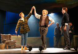 Edinburgh, Scotland, UK. 13 March, 2019.  Photo call of World Premiere of Local Hero stage adaptation at Royal Lyceum Theatre in Edinburgh. Musical adaptation written by Bill Forsyth and David Grieg with new music by Mark Knopfler, directed by John Crowley. Pictured; L to R, Katrina Bryan, Julian Forsyth and  Damian Humbley - Editorial Use Only