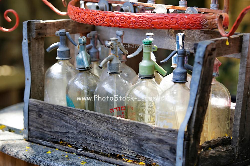 Vintage soda water bottles for gassing water