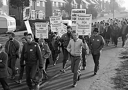 National Union of Teachers strikers from Countesthorpe College, Leicestershire November 1985