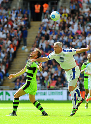 Christian Doidge of Forest Green Rovers  competes with Steve McNulty of Tranmere Rovers- Mandatory by-line: Nizaam Jones/JMP - 14/05/2017 - FOOTBALL - Wembley Stadium- London, England - Forest Green Rovers v Tranmere Rovers - Vanarama National League Final
