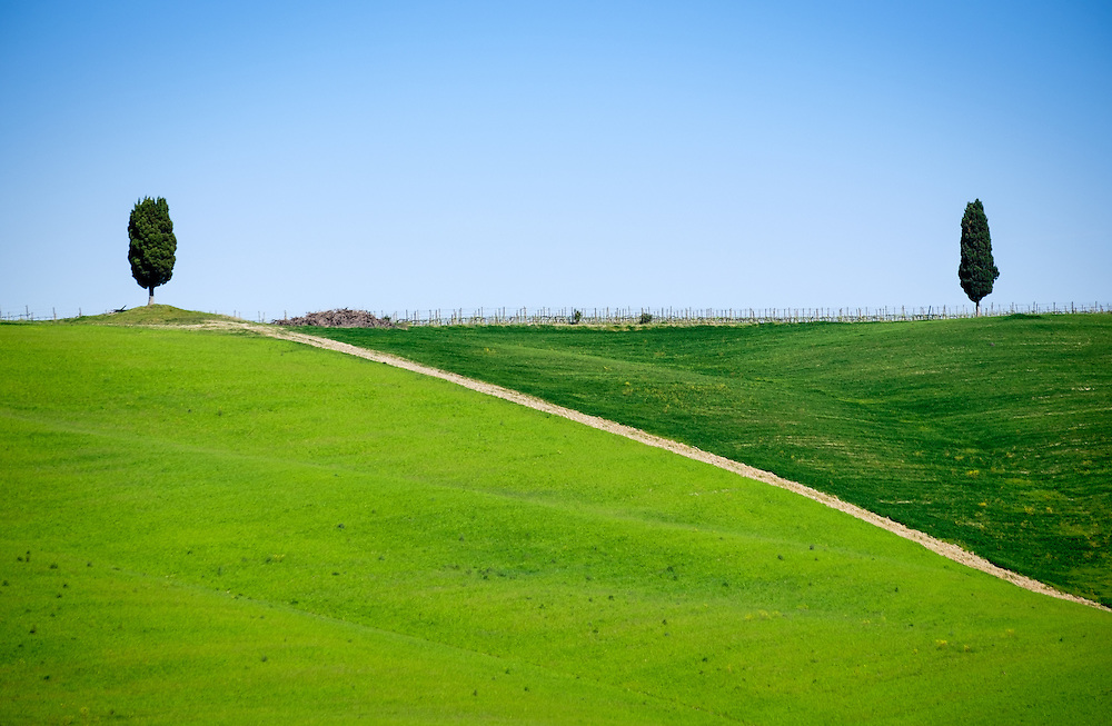 SAN QUIRICO d'ORCIA, ITALY - CIRCA MAY 2015:  Landscape in the Tuscan region of San Quirico d'Orcia in the Province of Siena