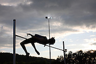 Super 8 athletics at the Cardiff International Stadium on Wed 10th June 2009. a competitor during the men's high jump event.
