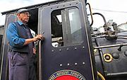 Steam train of Welsh Highland Railway, Porthmadog station, Gwynedd, north west Wales, UK