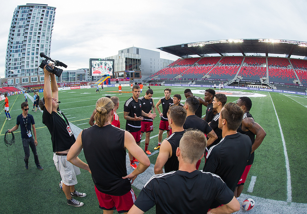 Ottawa Fury FC defender Rafael Alves (#33) leads a pitch side team talk before the NASL match between the Ottawa Fury FC and the Miami FC at TD Place Stadium in Ottawa, ON. Canada on Aug. 24, 2016. The game finishing 0-0.<br /> <br /> PHOTO: Steve Kingsman/Freestyle Photography