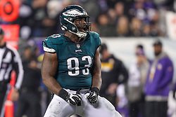 Philadelphia Eagles defensive tackle Timmy Jernigan #93 reacts after a play during the NFL NFC Championship game between The Minnesota Vikings and The Philadelphia Eagles at Lincoln Financial Field in Philadelphia on Sunday, January 21st 2018. (Brian Garfinkel/Philadelphia Eagles)