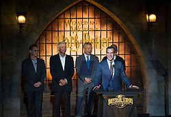 """Los Angeles Mayor Eric Garcetti (Front) speaks during the opening of """"the Wizarding World of Harry Potter"""" at the Hogwarts castle of the Universal Studios in Hollywood of Los Angeles, the United States, April 5, 2016. EXPA Pictures © 2016, PhotoCredit: EXPA/ Photoshot/ Yang Lei<br /> <br /> *****ATTENTION - for AUT, SLO, CRO, SRB, BIH, MAZ, SUI only*****"""