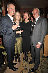 Left to right, ANTHONY BOURKE, the COUNTESS OF DROGHEDA, CAROLINE MICHEL and JOHN RENDALL at a party to celebrate the publication of 'A Lion called Christian' held at 36 Chapel Street, London SW1 on 26th March 2009.