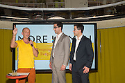 STEVE HILTON; SCOTT AND JASON BADE Launch of ' More Human',  Designing a World Where People Come First' by Steve Hilton. Party held at Second Home in Princelet St, off Brick Lane, London. 19 May 2015.