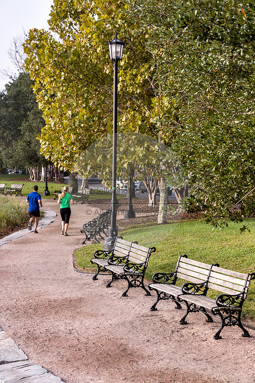 Runners along Waterfront Park on a foggy morning in historic Charleston, SC.