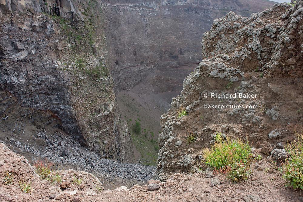 Crater geology on edge of dormant Vesuvius volcano, near Naples, Italy.