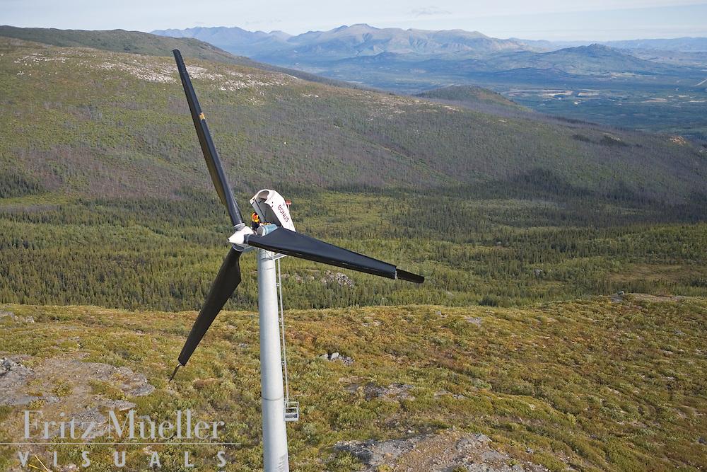 Yukon Energy Corporation wind turbines on Haeckel Hill overlooking Whitehorse