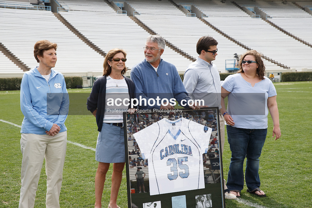 CHAPEL HILL, NC - MARCH 22: Former head coach Willie Scroggs of the North Carolina Tar Heels during a game against the Maryland Terrapins on March 22, 2014 at Kenan Stadium in Chapel Hill, North Carolina. North Carolina won 11-8. (Photo by Peyton Williams/Inside Lacrosse)