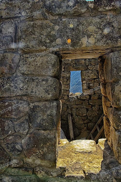 View of windows and stonework at Machu Picchu