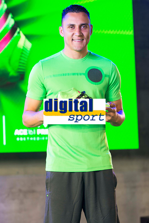 Goalkeeper of Real Madrid Kaylor Navas during the presentation of the new Adidas shoes ACE 16 at the 1v1 tournament to find the boss of Madrid at the Museo del Ferrocarril in Madrid, March 09, 2016. (ALTERPHOTOS/BorjaB.Hojas)
